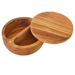 OLIVE WOOD LARGE SALT/PEPPER CELLAR WITH MAGNETIC PIVOTING LID