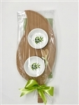 Bamboo Leaf Serving/Cheese Board, with Ceramic Dishes