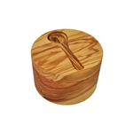 OLIVE WOOD SALT CELLAR (LARGE) WITH INSET SPOON