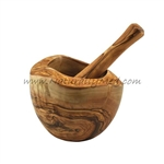 OLIVE WOOD MORTAR AND PESTLE NATURAL RUSTIC STYLE