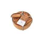 OLIVE WOOD GIFT SET SALT CELLAR AND SALT SCOOP